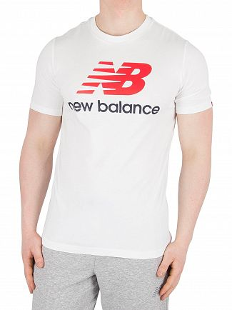 New Balance White Essentials Stacked T-Shirt