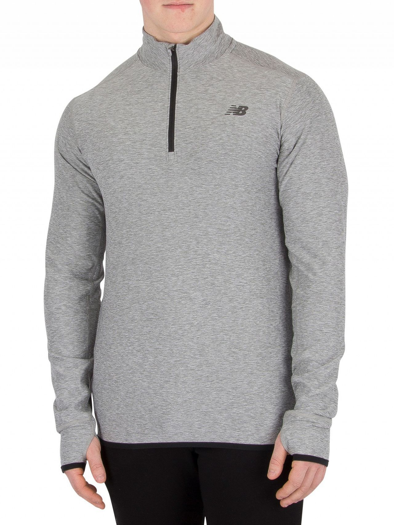 e24ce3f883512 New Balance Grey Transit Quarter Zip Top. Hover to zoom