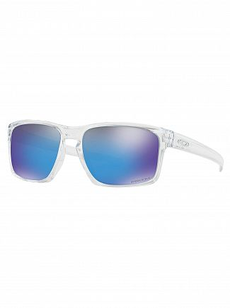Oakley Polished Clear/Sapphire Iridium Silver Prizm Sunglasses
