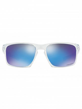 Oakley Polished Clear/Sapphire Iridium Silver Prizm Sunglasses