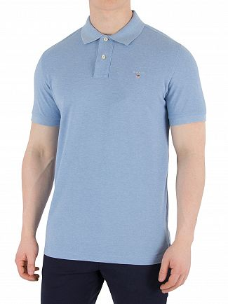 Gant Lake Blue Melange Original Pique Rugger Polo Shirt