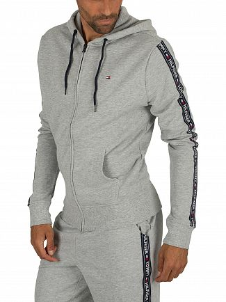 Tommy Hilfiger Grey Heather Zip Logo Tapping Hoodie