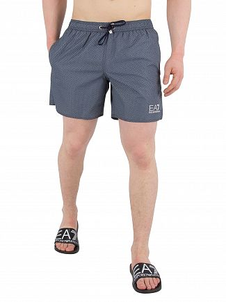 EA7 Blue Navy Sea World Printed Swim Shorts