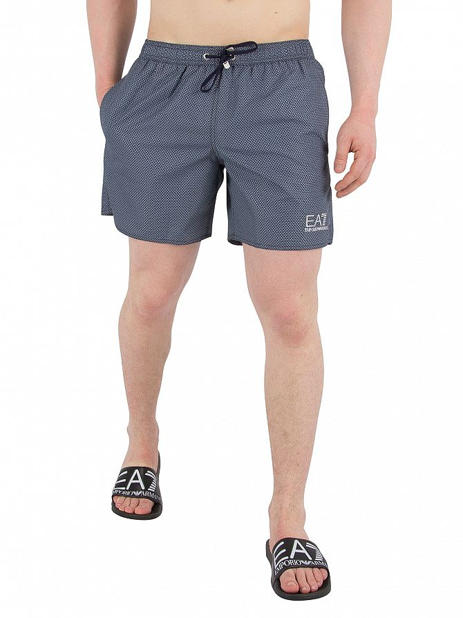 EA7 Blue Navy Sea World Printed Swim Shorts