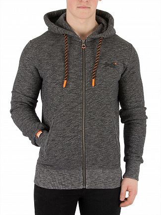Superdry Cinder Charcoal Grit Orange Label Hyper Zip Hoodie