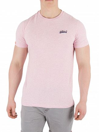 Superdry Pastel Pink Marl Orange Label Vintage EMB T-Shirt