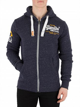 Superdry Atlantic Navy Grit Premium Goods Zip Hoodie