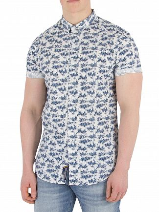 Superdry Micro Bamboo Navy Slim Fit Pool Side Shirt