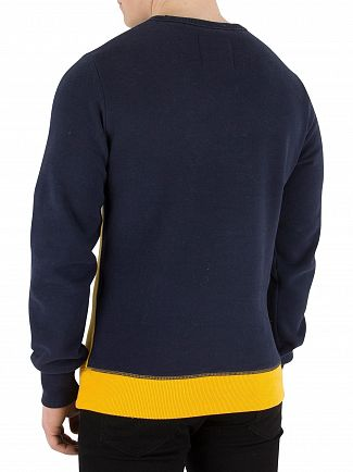 Superdry Casual Navy/Ice Marl/Upstate Gold Vintage Logo Panel Sweatshirt