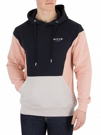Nicce London Navy/Pink/Grey Panelled Oh Pullover Hoodie