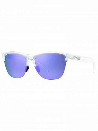 Oakley Matte Clear/Violet Iridium Frogskin Lite Sunglasses