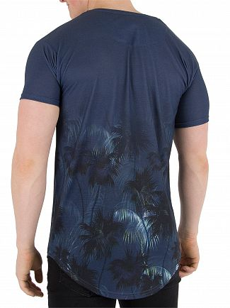 Sik Silk Deep Blue Palm Rework Curved Hem T-Shirt