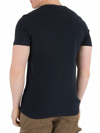 Superdry Eclipse Navy Varsity AOP Embossed T-Shirt