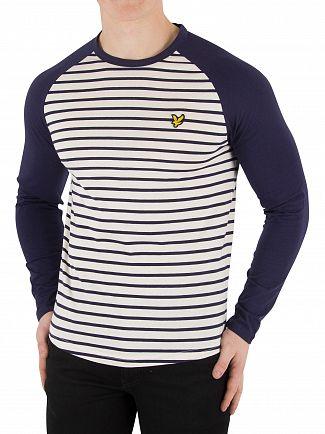 Lyle & Scott Navy Longsleeved Baseball Breton T-Shirt