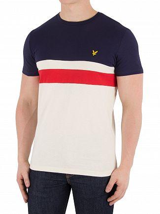 Lyle & Scott Navy Yoke Stripe T-Shirt