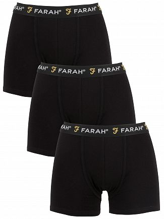 Farah Vintage Black Saginaw 3 Pack Trunks