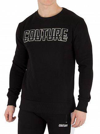 Fresh Couture Black Applique Sweatshirt