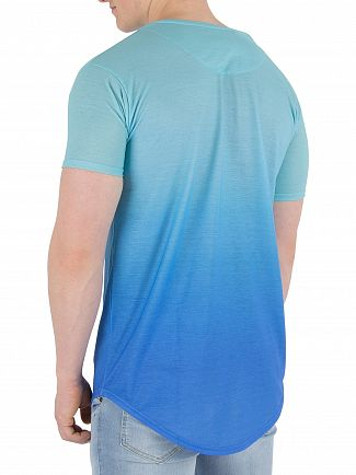 Sik Silk Teal/Blue Curved Hem Faded T-Shirt