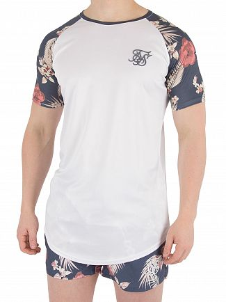 Sik Silk White Hazy Raglan Curved Hem T-Shirt
