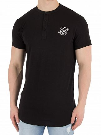 Sik Silk Black Jersey Grandad Collar T-Shirt