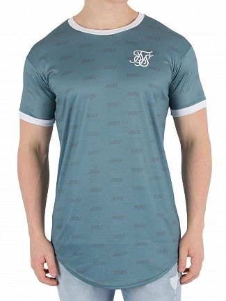 Sik Silk Teal Shadow Curved Hem T-Shirt