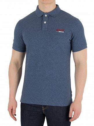 Superdry Textured Jersey Blue Classic Pique Polo Shirt