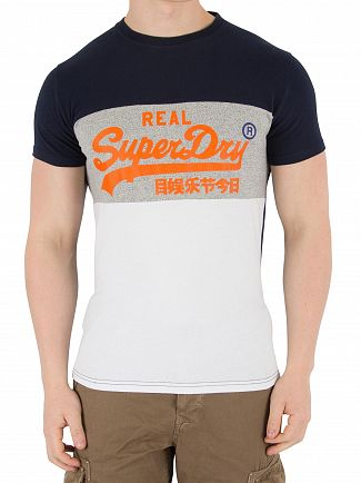 Superdry Optic/Silver Birds Eye Grey Vintage Logo Panel T-Shirt