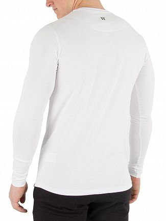 11 Degrees White Longsleeved Muscle Fit T-Shirt