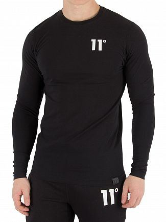 11 Degrees Black Longsleeved Muscle Fit T-Shirt
