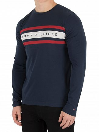 Tommy Hilfiger Navy Blazer Longsleeved Band Graphic T-Shirt