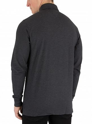 Tommy Hilfiger Charcoal Heather Longsleeved Logo Polo Shirt