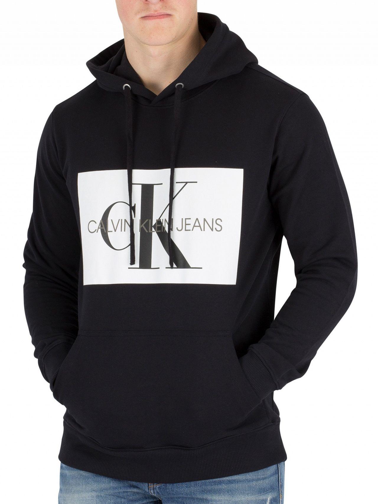 c9b9ab5edc4f Calvin Klein Jeans Black Monogram Box Pullover Hoodie