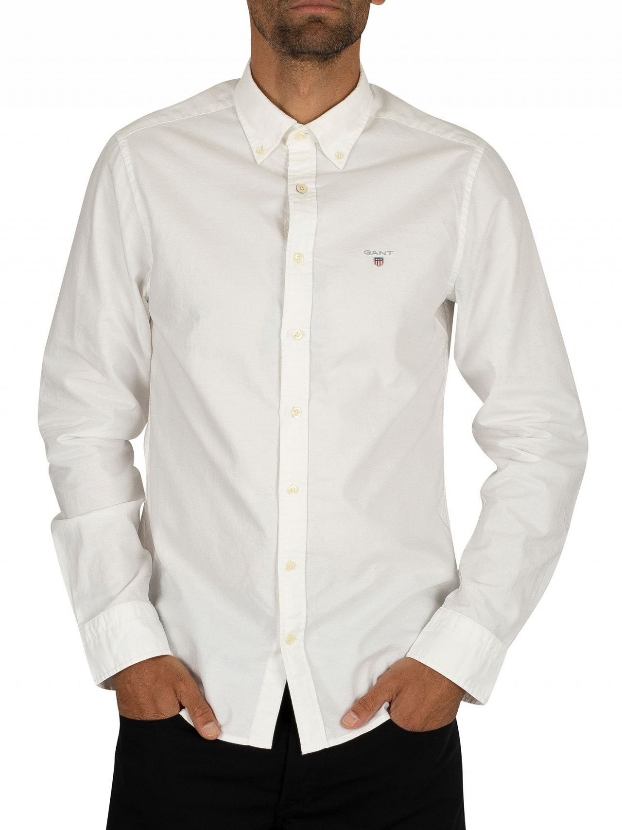 6114d3db Gant White The Slim Oxford Shirt   Standout