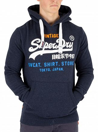 Superdry Blue Black Grit Sweat Shirt Store Pullover Hoodie