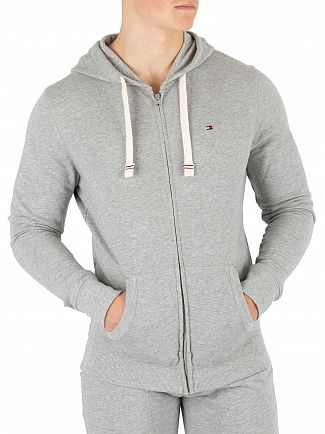 Tommy Hilfiger Grey Heather Logo Zip Hoodie