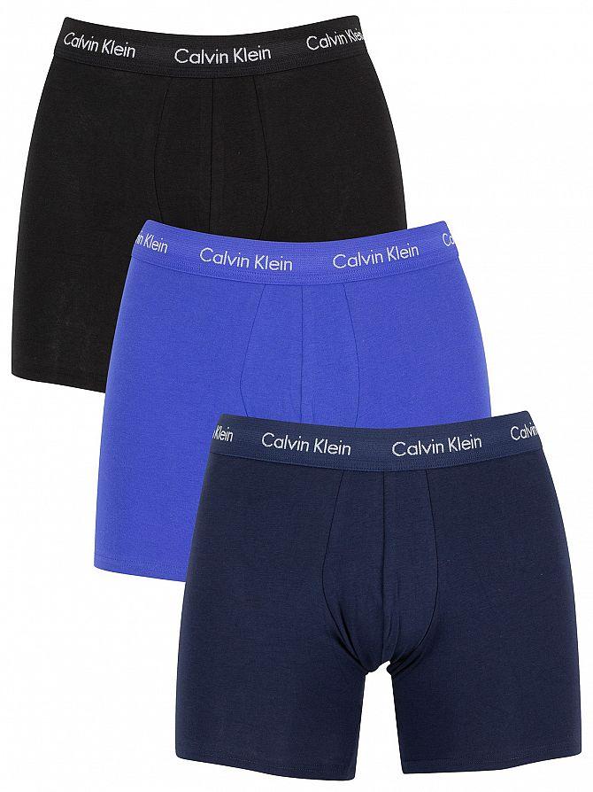 Calvin Klein Black/Blue Shadow/Cobalt Water 3 Pack Cotton Stretch Boxer Briefs