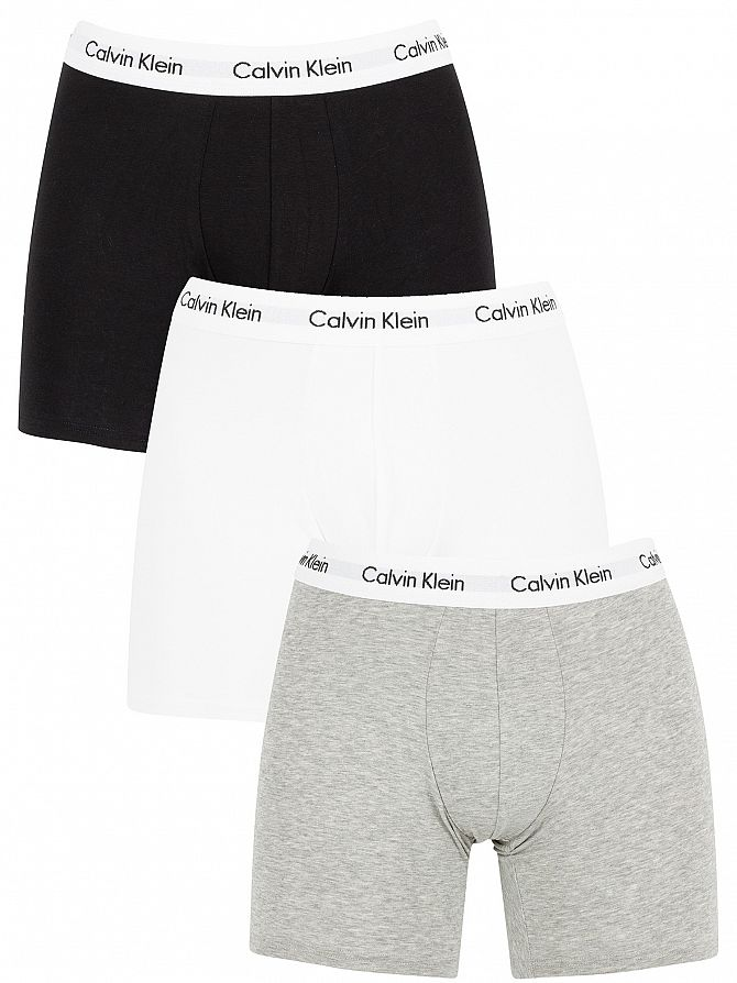 Calvin Klein Black/White/Grey Heather 3 Pack Cotton Stretch Boxer Briefs