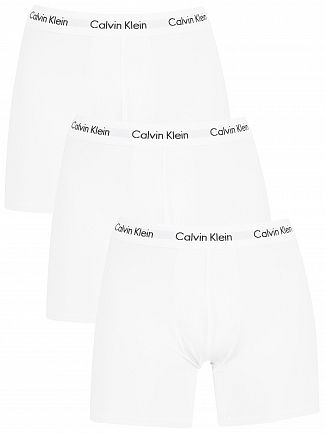 Calvin Klein White 3 Pack Cotton Stretch Boxer Briefs