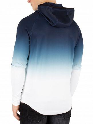 Sik Silk Navy/White Athlete Zip Through Hoodie