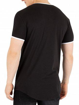 Sik Silk Black Curved Hem Gym T-Shirt