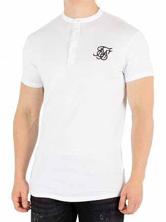 Sik Silk White Jersey Grandad Collar T-Shirt