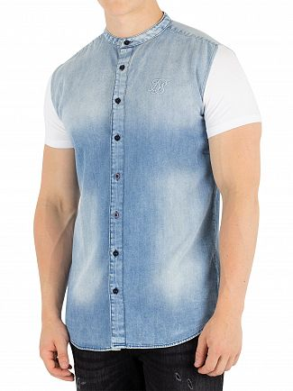 Sik Silk Blue/White Jersey Siv Grandad Washed Denim Shirt