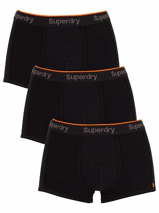 Superdry Black Orange Label 3 Pack Trunks