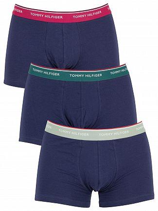 Tommy Hilfiger Light Green/Green/Burgundy 3 Pack Premium Essentials Trunks