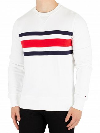Tommy Hilfiger Bright White Chest Stripe Sweatshirt