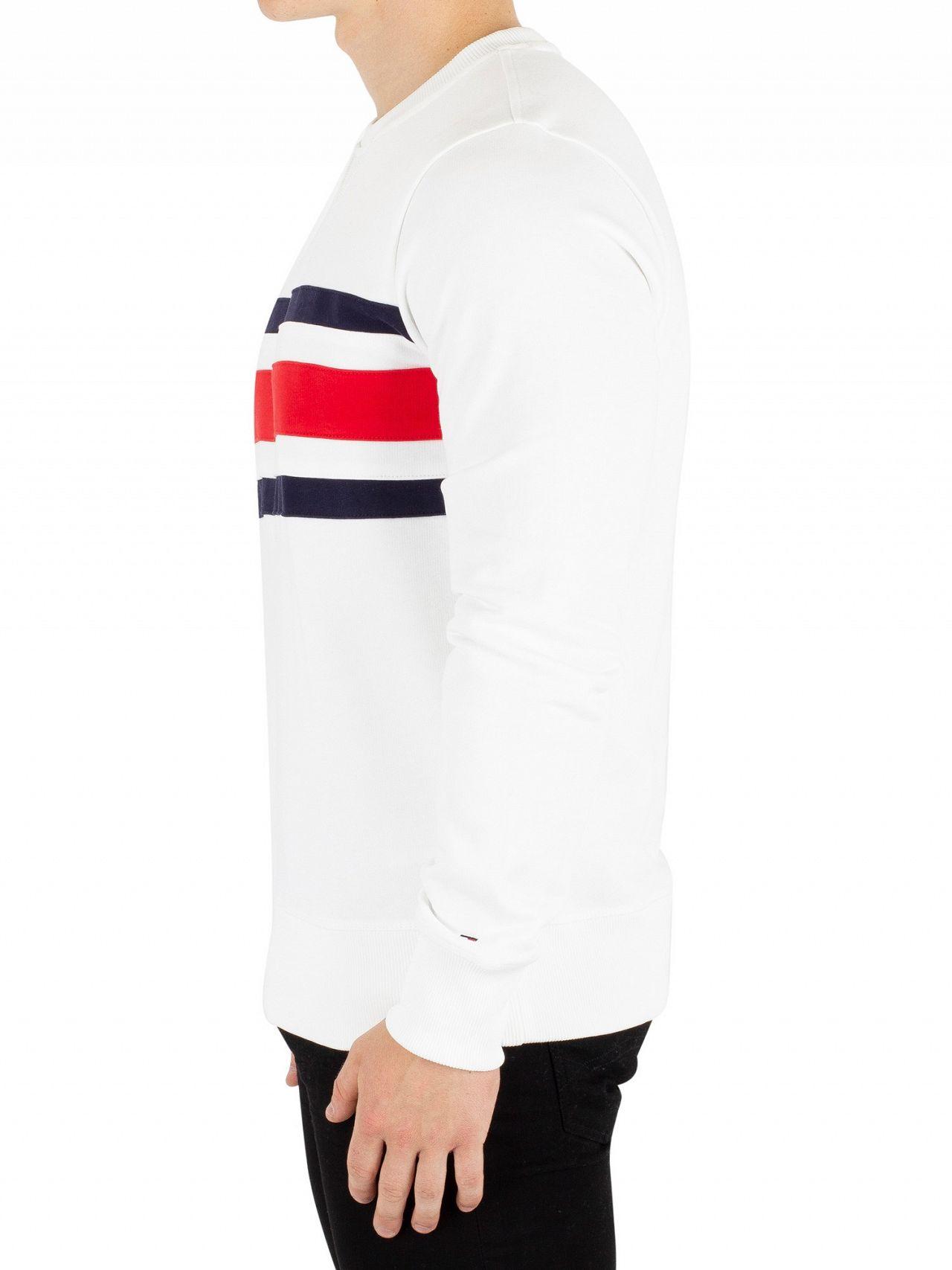 612aefd4db0089 Tommy Hilfiger Bright White Chest Stripe Sweatshirt