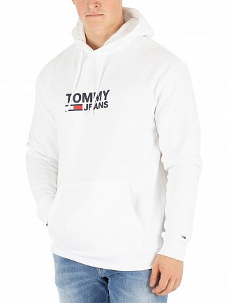 Tommy Jeans Classic White Corp Logo Hoodie