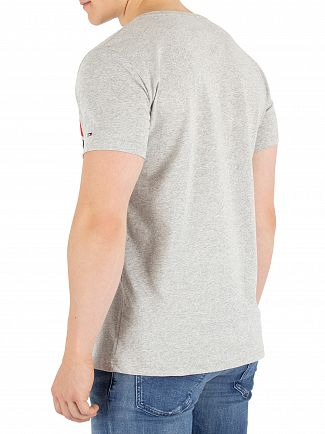 Tommy Jeans Light Grey Heather Cut Out Stripe T-Shirt