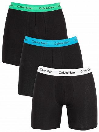Calvin Klein White/Blue/Green 3 Pack Trunks