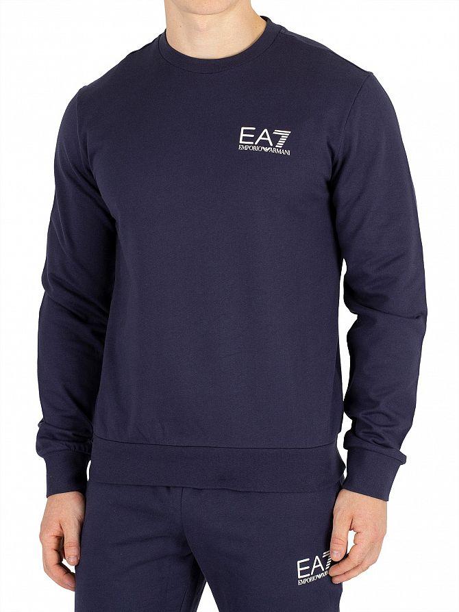 EA7 Navy Blue Chest Logo Sweatshirt